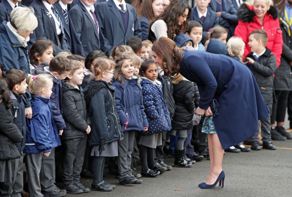The Duchess of Cambridge meets pupils at the Reach Academy. (Photo Getty Images)