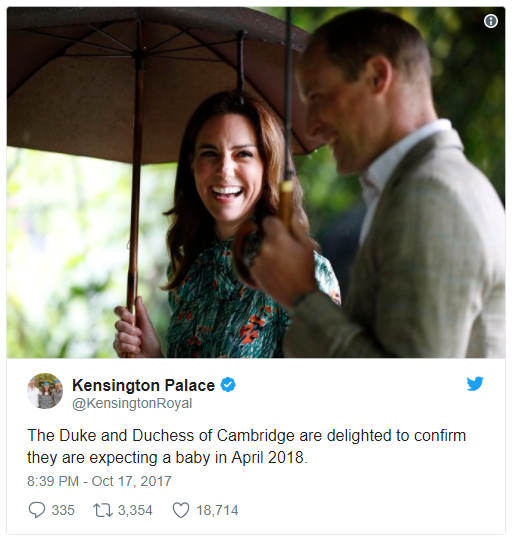 The Duke and Duchess of Cambridge are delighted to confirm they are expecting a baby in April 2018. Photo C TWITTER