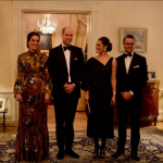 The Duke and Duchess with Crown Princess Victoria and Prince Daniel ahead of tonights dinner at the Residence of the British Ambassador in Stockholm