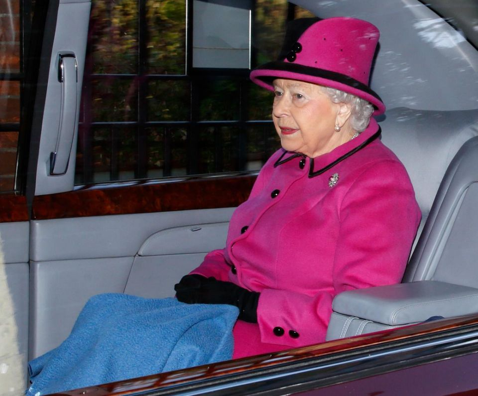 The Queen opted to arrive at the service in a car. Photo (C) Getty Images