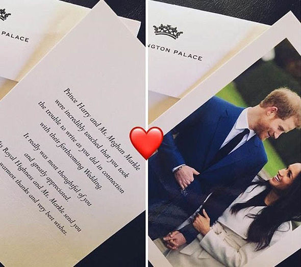 The cards, which have been posted on social media, feature a photo of the couple and a thank-you Photo (C) INSTAGRAM , GETTY