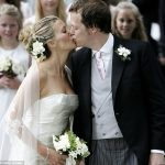 Tom Parker Bowles kisses Sara on their wedding day in 2005 in Oxfordshire England
