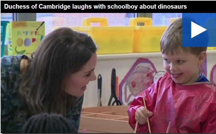 catherine duchess of cambridge talking to children