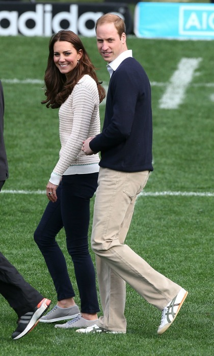 Catherine, Duchess of Cambridge and Prince William, Duke of Cambridge attend a Rippa Rugby tornement at Forsyth Barr Stadium on April 13, 2014 in Dunedin, New Zealand. The Duke and Duchess of Cambridge are on a three-week tour of Australia and New Zealand, the first official trip overseas with their son, Prince George of CCatherine, Duchess of Cambridge and Prince William, Duke of Cambridge attend a Rippa Rugby tornement at Forsyth Barr Stadium on April 13, 2014 in Dunedin, New Zealand. The Duke and Duchess of Cambridge are on a three-week tour of Australia and New Zealand, the first official trip overseas with their son, Prince George of Cambridge.ambridge.
