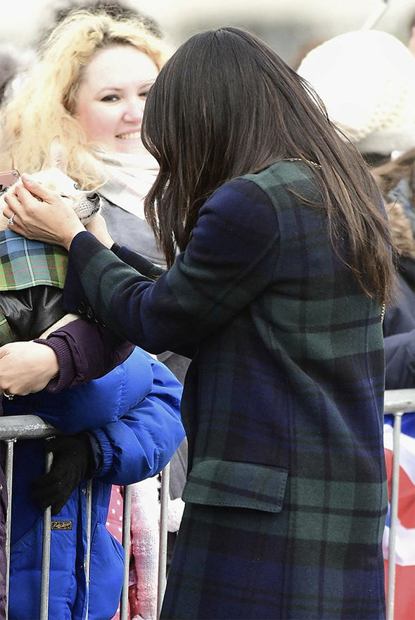 Dog lover Meghan greets a pooch in the crowds Photo (C) SWNS