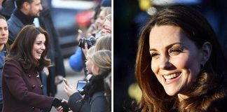 Duchess of Cambridge meets meets wellwishers as she arrives at Hartvig Nissen School Photo (C) GETTY