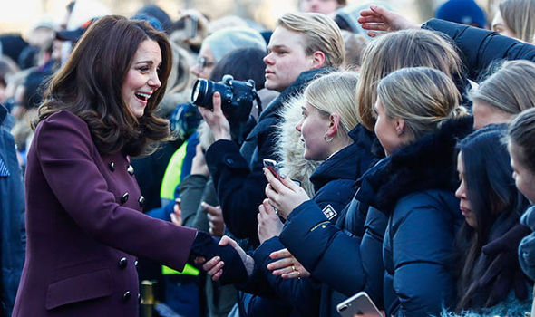 Duke and Duchess of Cambridge meet well-wishers outside of Hartvig Nissen School Photo (C) GETTY