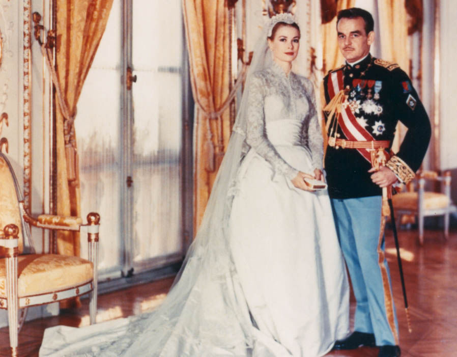 Grace Kelly's iconic wedding dress was designed by Helen Rose of MGM for her 1956 marriage to Prince Ranier III of Monaco. Photo (C) GETTY