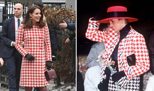 Kate Middleton has worn a houndstooth coat similar to one worn by Princess Diana Photo (C) PA, GETTY