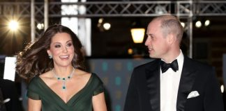 Kate Middleton wears a Jenny Packham gown at the Baftas Getty