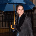 Kate arrived at the gallery in the Swedish capital under an umbrella Photo C PA