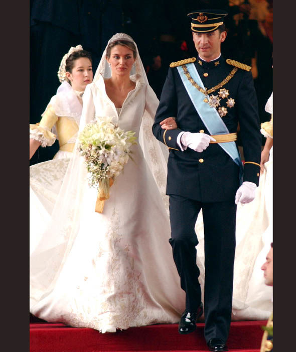 King Felipe and Queen Letizia of Spain on their wedding in 2004 Photo (C) WIREIMAGE