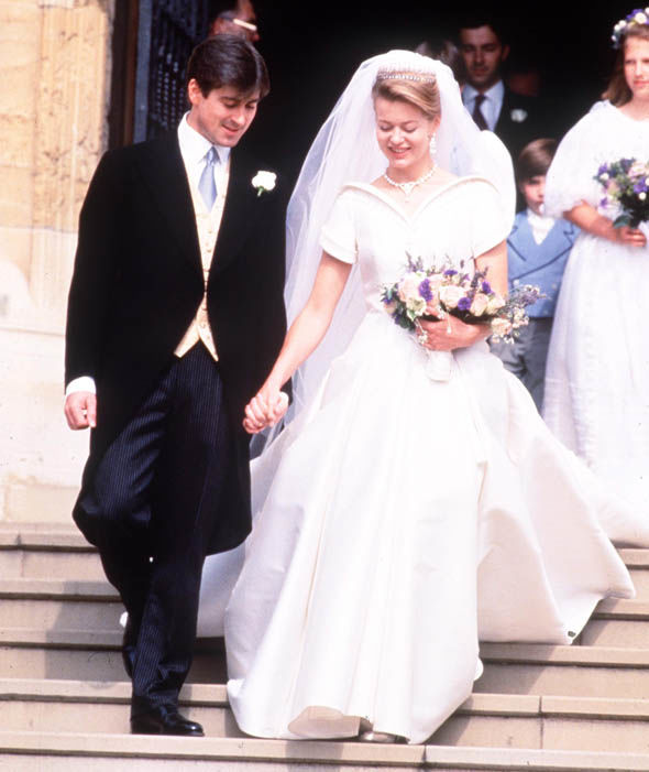 Lady Helen Windsor and Tim Taylor on their wedding day in 1992. Her dress was designed by Catherine Walker Photo (C) GETTY