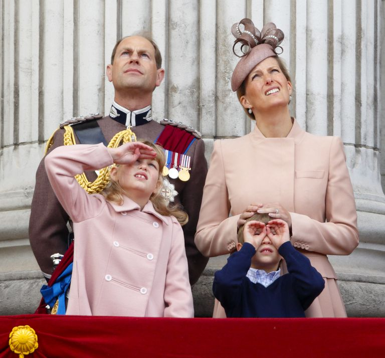 PRINCE EDWARD, EARL OF WESSEX, SOPHIE, COUNTESS OF WESSEX, LADY LOUISE WINDSOR AND JAMES, VISCOUNT SEVERN AT THE 2013 TROOPING THE COLOUR CEREMONY. Photo (C) GETTY