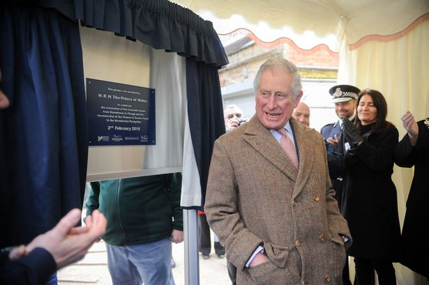 Prince Charles makes a joke after unveiling a plaque to mark the opening off the latest section of canal through Stroud. Picture Eloisa Wildsmith 02 02 18