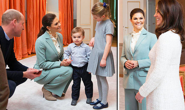 Prince William crouched down to meet Prince Oscar and Princess Estelle Photo (C) GETTY