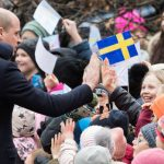 Prince William high fived youngsters after he arrived in Stockholm Photo C GETTY
