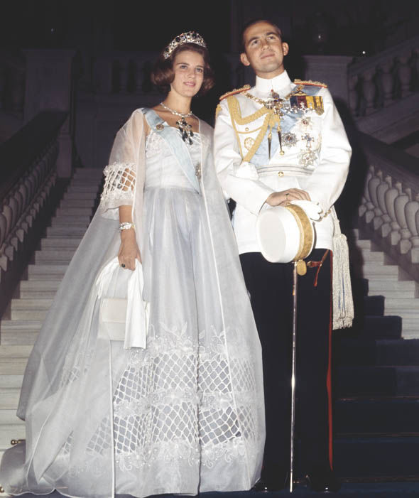 Princess Anne-Marie of Denmark and King Constantine II of Greece on their wedding day in 1964 Photo (C) GETTY