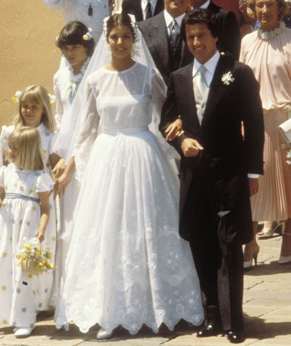 Princess Caroline of Monaco and Philippe Junot during their wedding in 1978 Photo (C) GETTY
