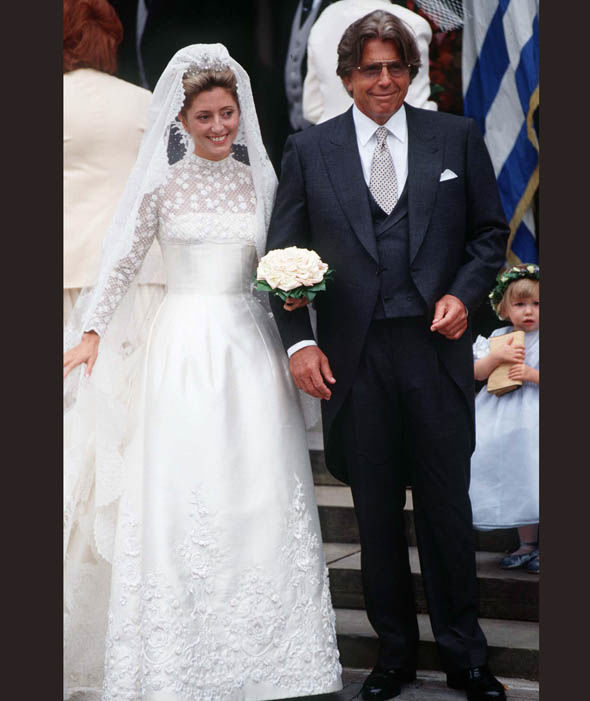 Princess Marie-Chantel of Greece and Father Robert Miller on her wedding day in 1995 Photo (C) GETTY