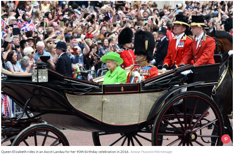 Queen Elizabeth rides in an Ascot Landau for her 90th birthday celebration in 2016.Anwar Hussein WireImage