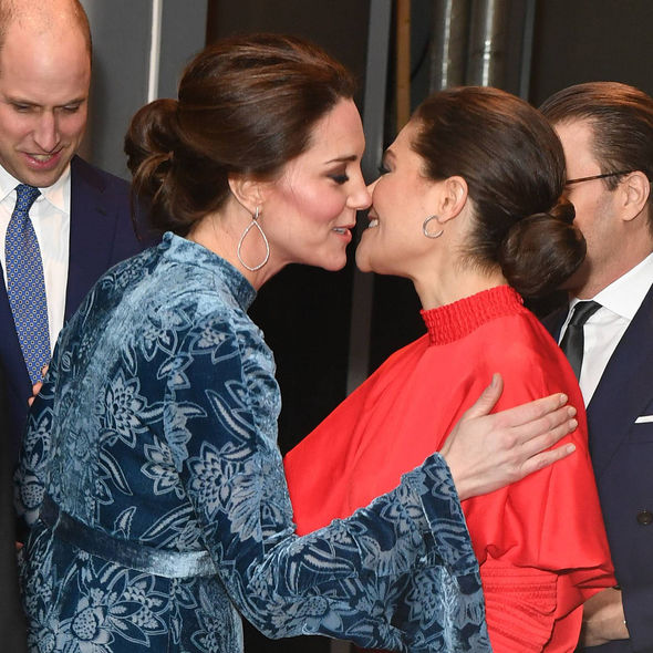 The Duchess of Cambridge was greeted with a kiss by Princess Victoria Photo (C) GETTY
