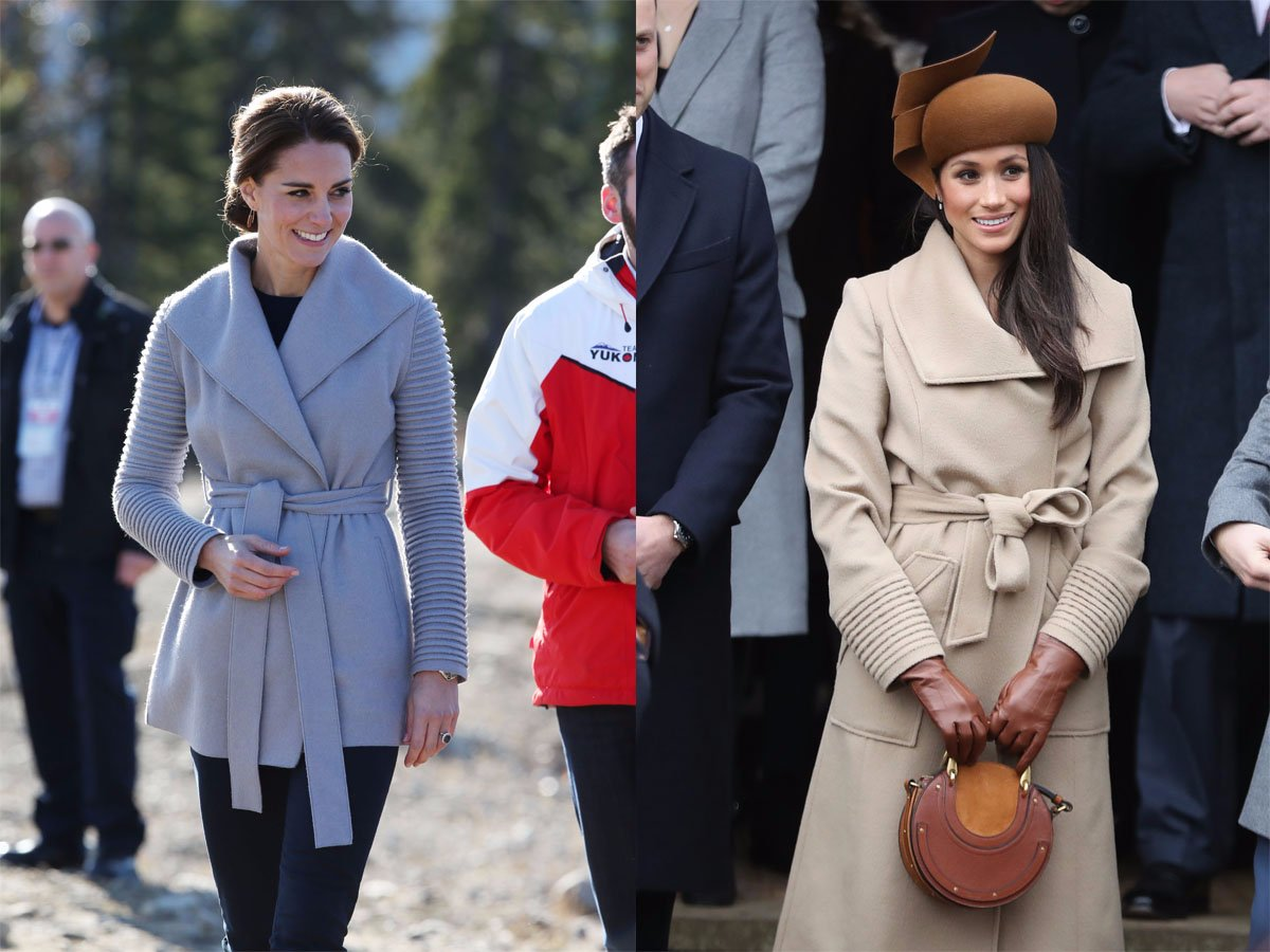 The future sisters-in-law are a big fan of the designer Sentaler. They have both worn wrap coats by the brand, but with some subtle differences. Photo (C) GETTY