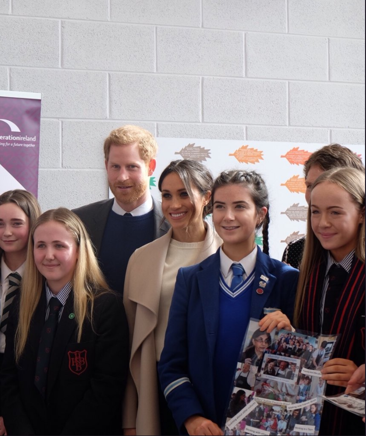 After watching some performances, Prince Harry and Ms. Markle heard from the young people themselves about the reconciliation work going on across Northern Ireland. Photo (C) TWITTER KENSONGTON PALACE