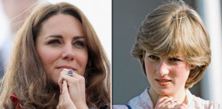 Duchess and Princess Diana wearing their engagement rings Photo C GETTY