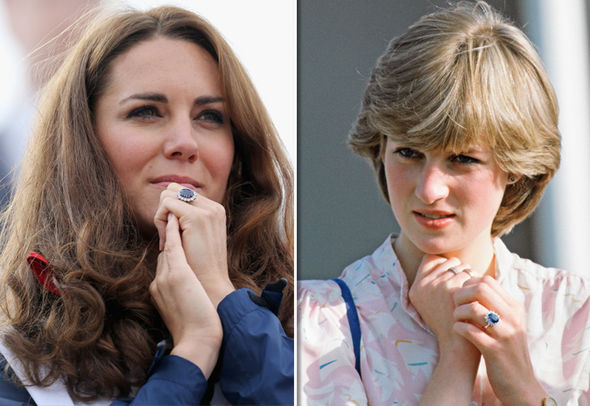 Duchess and Princess Diana wearing their engagement rings Photo (C) GETTY