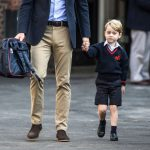 Prince George of Cambridge arrives for his first day of school with his father Prince William, Duke of Cambridge at Thomas Photo (C) GETTY