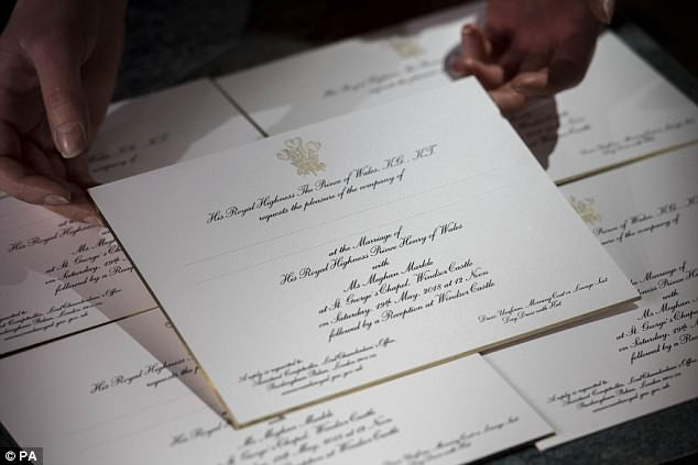 Invitations for Harry and Meghan's wedding, printed at Barnard and Westwood in London