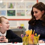 Kate speaks to Ruby, a pupil from Albion Primary School Photo (C) PA