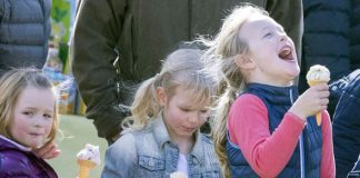 Little royals Mia, Isla and Savannah enjoying the sun at Gatcombe Horse Trials Photo (C) PA