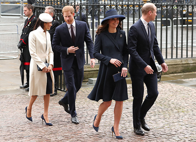 Meghan and Kate arrive with Harry and William at Westminster Abbey Photo (C) GETTY