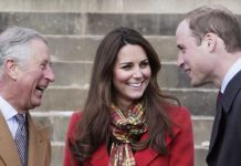 AYRSHIRE, UNITED KINGDOM- MARCH 05: Prince Charles, Duke of Rothesay, Catherine, Countess of Strathearn and Prince William, Earl of Strathearn share a joke during a visit to Dumfries House on March 05, 2013 in Ayrshire, Scotland. The Duke and Duchess of Cambridge braved the bitter cold to attend the opening of an outdoor centre in Scotland today. The couple joined the Prince of Wales at Dumfries House in Ayrshire where Charles has led a regeneration project since 2007. Hundreds of locals and 600 members of youth groups including the Girl Guides and Scouts turned out for the official opening of the Tamar Manoukin Outdoor Centre. (Photo by Danny Lawson - WPA Pool/Getty Images)