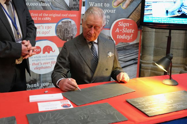 Prince Charles, Prince of Wales visits Truro Cathedral to Sign-A-Slate in support of the Roof Appeal and meet community groups and businesses utilising the newly refurbished Old Cathedral School on March 22, 2018 in Truro, England. Photo (C) GETTY