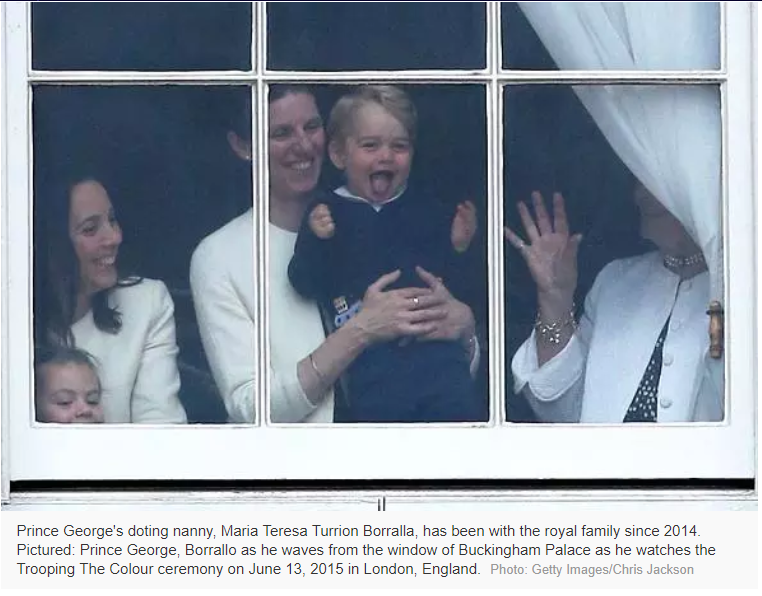 Prince George's doting nanny, Maria Teresa Turrion Borralla, has been with the royal family since 2014. Pictured: Prince George, Borrallo as he waves from the window of Buckingham Palace as he watches the Trooping The Colour ceremony on June 13, 2015 in London, England. Photo: Getty Images/Chris Jackson