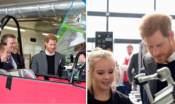 Prince Harry did not have his fiancee Meghan by his side as he visited to students at Silverstone Photo C KENSINGTON PALACE TWITTER