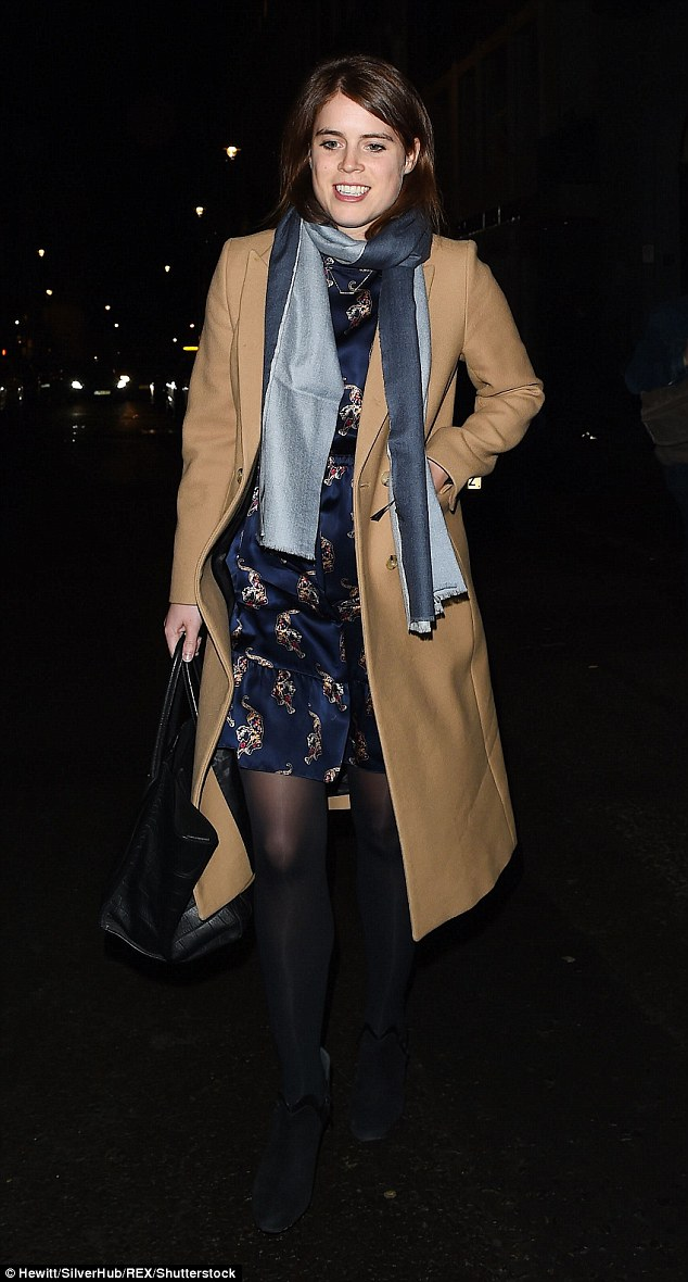 Princess Eugenie looked happier than ever when she ventured out in London on Monday night, donning a pretty printed dress and a classic camel coat