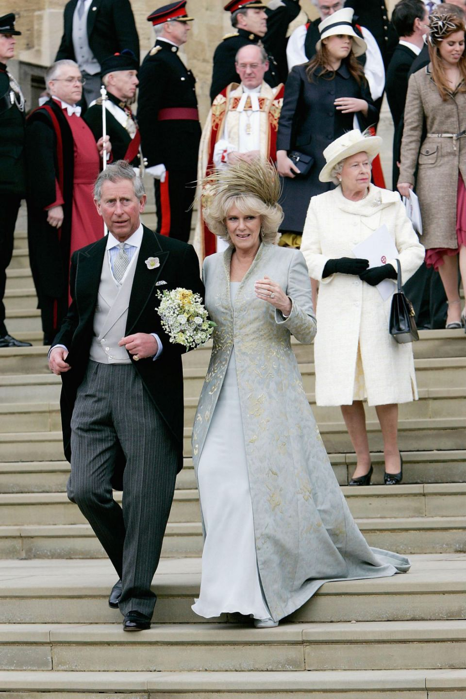 The Queen is pictured at Prince Charles and Camilla's wedding day. Photo Getty Images