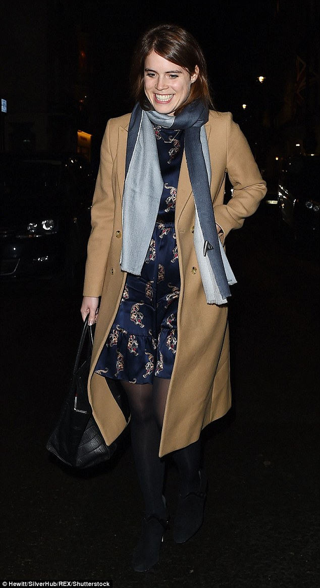 Princess Eugenie looked happier than ever when she ventured out in London on Monday night donning a pretty printed dress and a classic camel coat