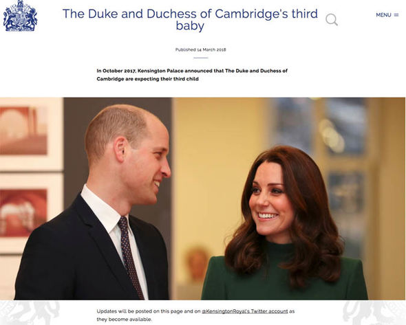 The royal website also includes information about George and Charlotte Photo (C) TWITTER KENSINGTON PALACE