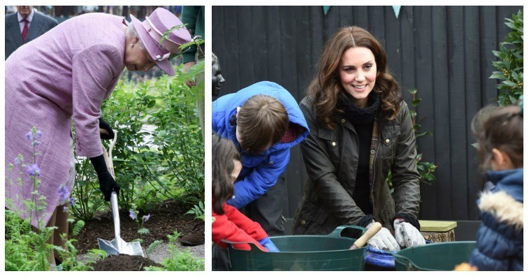 A composite image of Queen Elizabeth and Kate Middleton gardening