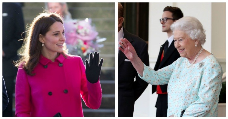 A composite image of Kate Middleton and Queen Elizabeth II waving and smiling