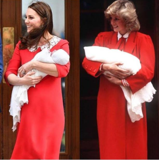 69789c46a6c2a Kate Middleton wears red Jenny Packham dress after giving birth to ...