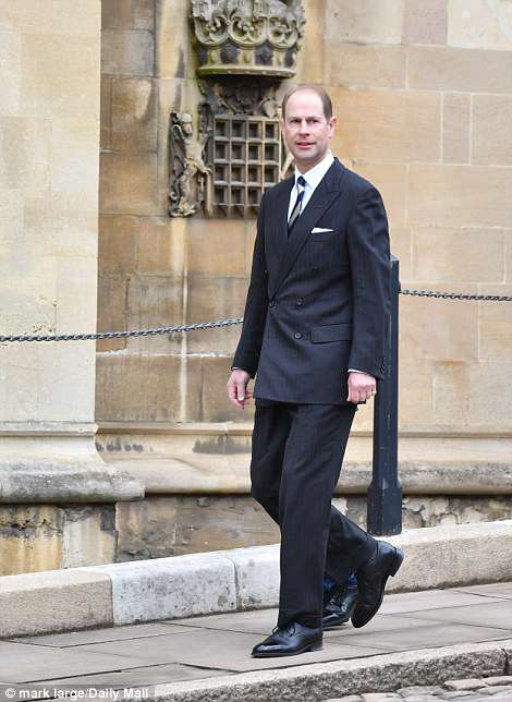 A smart-suited Prince Edward bravely left his coat behind on a chilly day in Berkshire