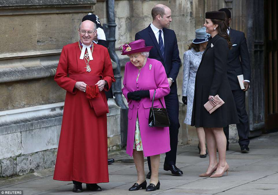 Almost there a heavily pregnant Kate, 36, and William, 35, share a smile as they walk behind the Queen and the Dean of Windsor at the end of the Easter Mattins service