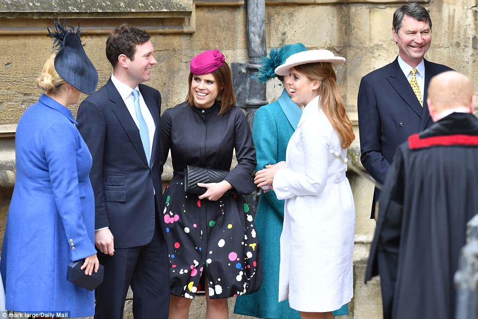 Awaiting the arrival of the Queen to lead the family into the Easter service, Princess Beatrice, wearing a Suzannah Versailles coat, shared a joke with Zara, sister Eugenie and boyfriend Jack Brooksbank
