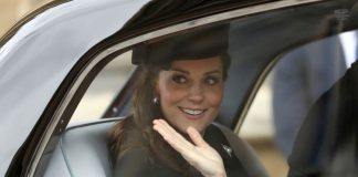 Catherine Duchess of Cambridge arrived in car for church service photo (C) GETTY